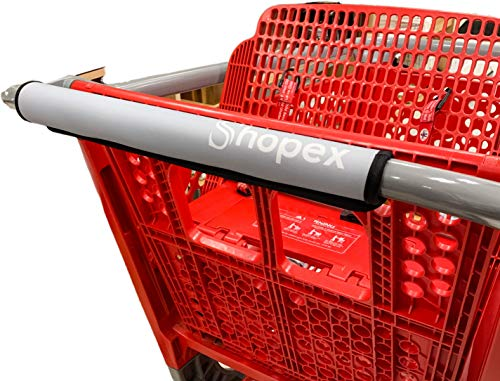 Shopping Cart Handle Cover by Shopex, Cover for Grocery Cart, Buggy and Trolley Handles | Safe for Adults, Babies and The Environment | Eco-Friendly and Reusable | 16 Inches Long | Grey