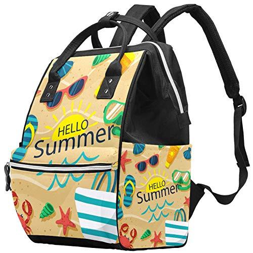 Grand sac à langer multifonction pour bébé Motif Hello Summer Beach Sac à dos de voyage pour maman et papa