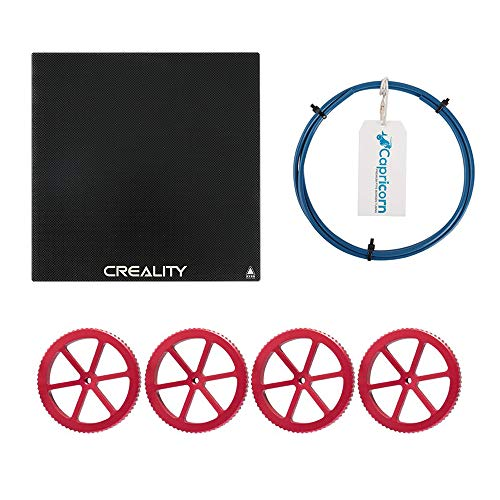 Upgraded Creality Ender 3/3 Pro Platform 3D Printer Tempered Glass Plate 235x235 with 1M Capricorn BowdenTubing and 4 Metal Hot Bed Hand Twist Leveling Nuts for Ender 5 / CR-20 Pro Hot Bed
