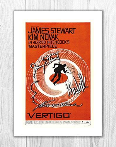 Vertigo - Alfred Hitchcock, James Stewart & Kim Novak 1 SP - Signed Autograph Reproduction Photo A4 Print (Print Only)