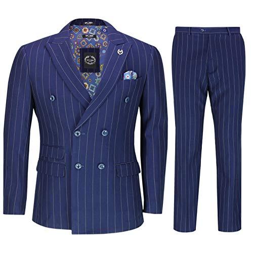 Xposed Herren 3 Stück Zweireihiger Anzug 1920Er Jahre Retro Peaky Blinders Blau Pinstripe Klassische Maßgeschneidert [SUIT-DB-6088-14-BLUE-54UK]