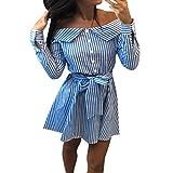 Kleid Damen Kolylong® Frauen Elegant Trägerloses Gestreift Kleid Langarm Festlich Schulterfrei Kleid Kurz T-Shirt Kleider Mini Rückenfrei Strandkleid Cocktail Party Abendkleid Top Shirt (M, Blau)