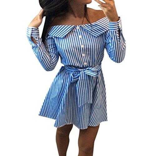 Kleid Damen Kolylong® Frauen Elegant Trägerloses Gestreift Kleid Langarm Festlich Schulterfrei Kleid Kurz T-Shirt Kleider Mini Rückenfrei Strandkleid Cocktail Party Abendkleid Top Shirt (S, Blau)