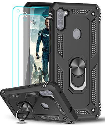 LeYi für Samsung Galaxy A11/M11 Hülle mit Panzerglas Schutzfolie(2 Stück),360 Grad Ring Halter Handy Hüllen Cover Magnetische Bumper Schutzhülle für Hülle Samsung Galaxy A11/M11 Handyhülle Schwarz