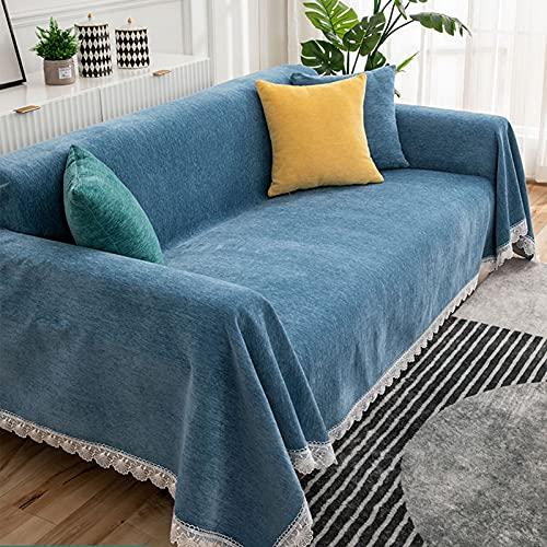 YCDZSW Chenille Colcha Multiusos para sofá, Funda de sofá, Manta Foulard Extra Grande,Funda Cubre Sofá Chaise Longue, Ideal como Toalla, Cubierta de Sofá (Azul,180 x 150cm)