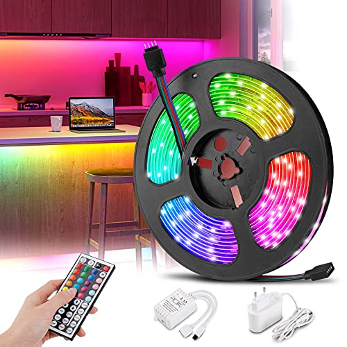 innislink Striscia LED 5m, Strisce rgb 5050 Luci Led camera da letto con 44 Tasti Telecomando TV...