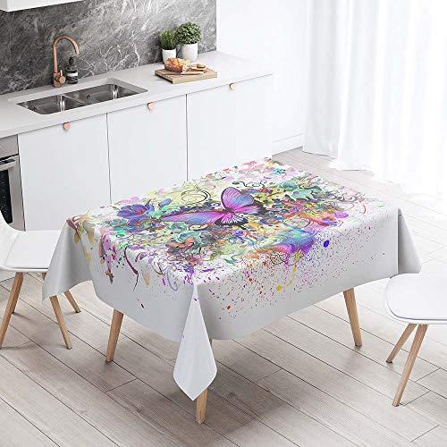Enhome Manteles de Poliéster Rectangular Mantel Rectangular Impermeable Antimanchas Nórdico Moderno Mantel Decorativo para mesas rectangulares Cocina Comedor (Salpicaduras de Colores,100x140cm)