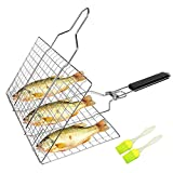 SHAN PU Grill Basket BBQ Grilling Basket with Removable Handle for Fish,Vegetables,Steak, Shrimp,...