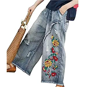 Women Casual Cropped Loose Floral Jeans Ripped Embroidered