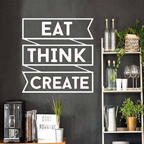 Creative Cote EAT Think Create Phrase - Adhesivo decorativo para pared (57 x 59 cm)