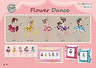 SO-G115 Flower Dance, SODA Cross Stitch Pattern leaflet, authentic Korean cross stitch design chart color printed on coated paper