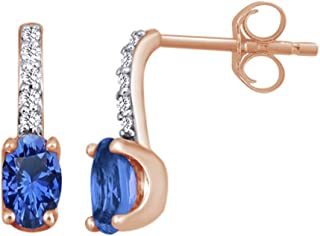 Oval Cut Simulated Tanzanite With White Diamond Solitaire Drop Earrings In 10K Solid Gold