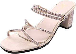 Women Open Toe Summer Slipper Sandals, Ladies Solid Square Heel Strap High Heels Shoes