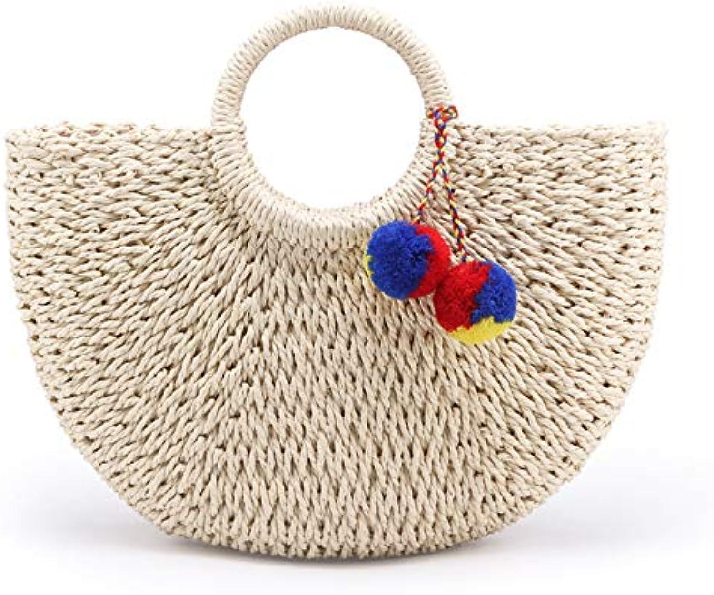 ASHIJIN New Summer Handmade Women Pompom Knitted Ladies Bag Straw Wrapped Beach Bag Moon Shaped Bag