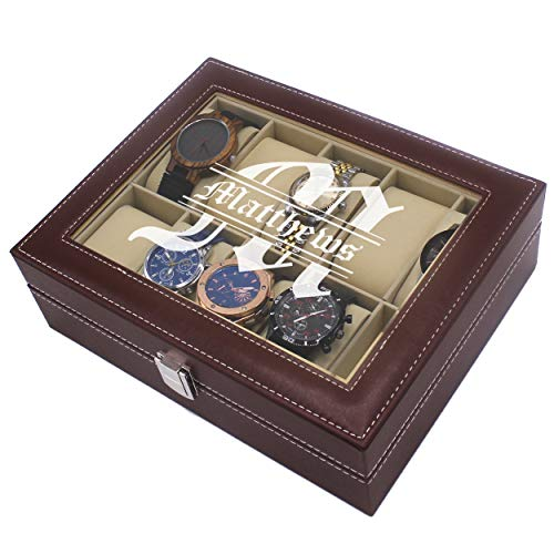 Custom Personalized Watch Storage Box Case - Name Initial - Groomsmen Fathers Day Gift - Engraved (Brown)