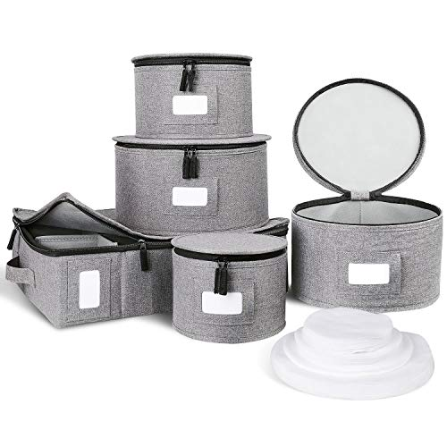 DYD China Storage Set Mugs Cups Storage Hard Shelled Stackable Dinnerware Containers with Felt Dividers for Dishes Salad Plates Protection Transporting