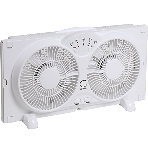 Genesis Twin Window Fan with 9 Inch Blades, High Velocity Reversible AirFlow Fan, LED Indicator...