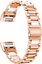Oitom Stainless Steel Bands Compatilbe with Fitbit Charge 2,Premium Stainless Steel SS Metal Replacement Watch Band Strap for Smart Fitness Watch(Rose Gold)