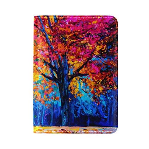 My Daily Capa protetora de couro para passaporte colorida de árvore de outono