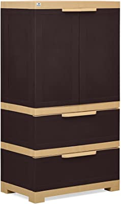 Nilkamal Freedom FMDR 2B Plastic Storage Cabinet with 1 Drawer (Weathered Brown & Biscuit)