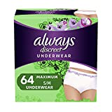 Always Discreet Incontinence & Postpartum Incontinence Underwear for Women, Small/Medium, Maximum Protection, Disposable (32 Count, Pack of 2-64 Count Total)