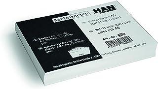 HAN Fiches bristol DIN A6 paysage, carton 170 g/m², ligné, blanc, 980