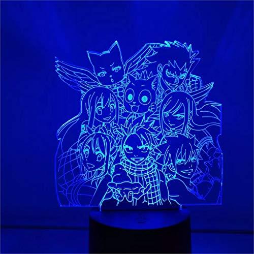 Anime Personajes 3D LED Óptica Noche Luz Anime Fairy Tail Verano Lucy