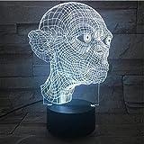 ZWANDP Lampe Illusion 3D Night Light Capteur Tactile Changement de Lumières Décoratives Enfant Le Seigneur des Anneaux Bureau Table de Chevet USB 7 Couleurs