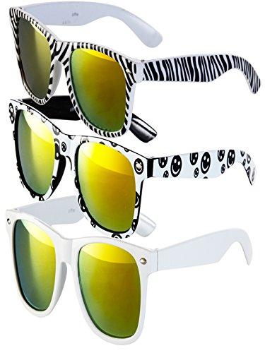 Ciffre 3 er Set EL-Sunprotect® Sonnenbrille Nerdbrille Brille Nerd Feuer Verspiegelt Weiß Zebra Smiley