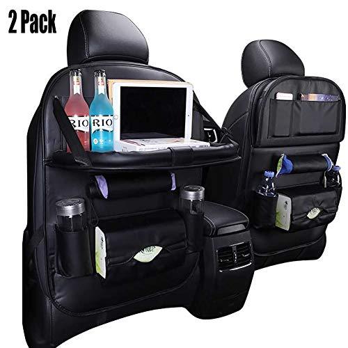 JBAL PU lederen auto achterbank organizer verstelbare auto stoel terug opslag zak met 6 zakken en opvouwbare eettafel houder (2 Pack)