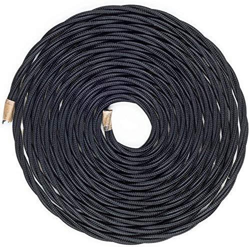 Textilkabel für Lampe 10 m, NUODIFAN Textilummanteltes Stoffkabel Stromkabel 2-adrig gedreht verseilt einzeln umflochten für DIY Lampezubehör Schwarz