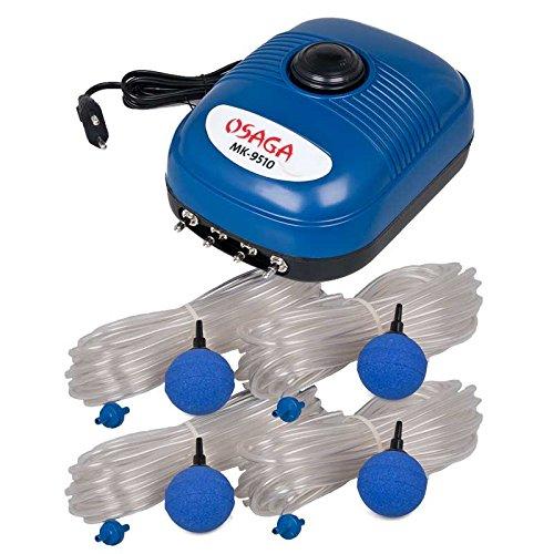 Osaga MK-Serie Teich- und Aquariumbelüfter - Set mit regelbarer Luftpumpe, komplett Set (Set MK-9510)