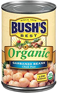 BUSH'S BEST Organic Garbanzo Beans Canned Beans, Organic Chick Peas, USDA Certified Organic, Source of Plant Based Protein...