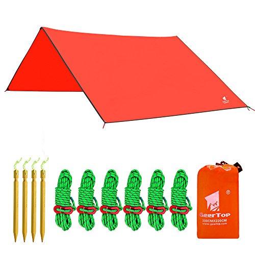 GEERTOP Zeltplane Sonnensegel Tarp Leichtgewichtige Wasserdicht - 300 x 220 cm - mit Zeltheringen und reflektierend Abspannseile und Tasche für Camping Wandern Bergsteigen (Orange)