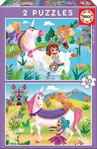 Educa Borrás- 2 20 Piezas, Puzzle Infantil Unicornios Y Had
