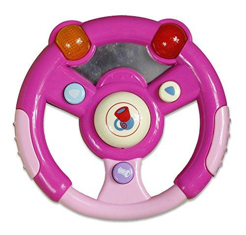 Vetrineinrete Volante Musicale Giocattolo per Bambini Rosa o Celeste per Bimbi e Bimbe con luci e Suoni Giochi Bambini con frecce clacson (Rosa) P61