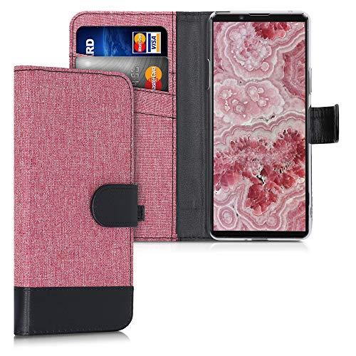 kwmobile Wallet Hülle kompatibel mit Sony Xperia 10 II - Hülle Kunstleder mit Kartenfächern Stand in Altrosa Schwarz