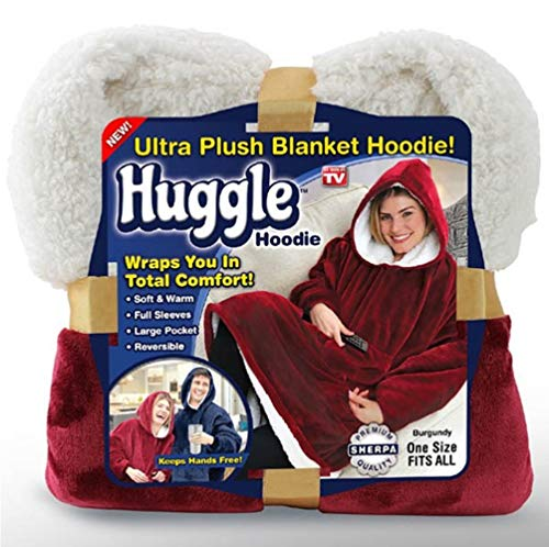 Faule TV-Boute, Winter Huggle Hoodie, Super Soft Warm Komfort-Giant Hoody, Sherpa Hoodie Blanket Sweatshirt, Large Pocket, Camping, Outdoor, One Size Fits All, RED
