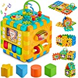 Baby Activity Cube – 6-in-1 Multi-Assembly Activity Square for Babies 10m+ – BPA-Free Play Cube for Infants & Toddlers Teaches Cognitive & Motor Skills with Music, Shapes, Gears & More