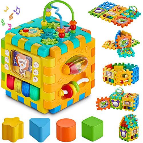Cube d'activités pour bébés - Carré Multi-assemblages 6 en 1 pour bébés de 10 m et Plus Cube sans BPA Nourrissons Tout-Petits enseigne habiletés cognitives motrices avec Musique Formes Engrenages