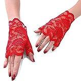 MINGZE Guantes de encaje, Guantes sin dedos de encaje floral de mujer, Guantes de novia con medio dedo Protección UV Guantes sin dedos Guantes a prueba de sol (Rojo)