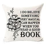 Qinu Keonu Funda de cojín cuadrada de lino y algodón para coleccionistas de libros muy mágicos que pueden ocurrir cuando leas un buen libro. Funda de cojín decorativa para exteriores, dormitorio,...