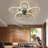 Plafon De Lámpara Silencioso Ventiladores de techo con Luz y Mando a Distancia Plafón de Luces Regulable Moderno Forma de la Flor Iluminación de techo para Dormitorio Sala de Estar Habitación Infantil