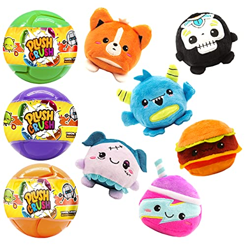 Plush Crush - Puzzle Crush Ball, Surprise Collectible Character, Blind Bag Gift, Cute Series, 3-Pack