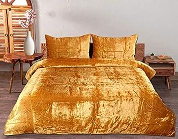 3 Pcs Ultra Luxury Bedding Comforter Boho Crushed Doona Solid Velvet Duvet Cover  Gold Full 80 x90