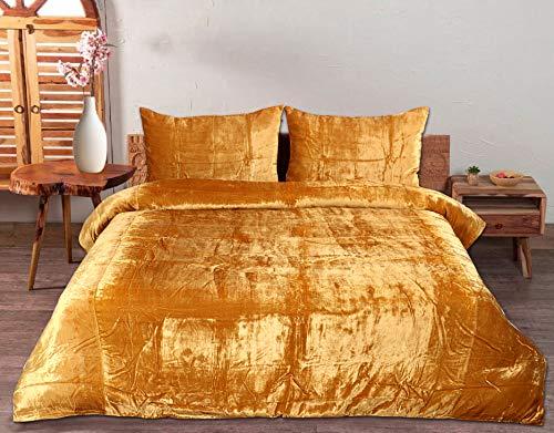 3 Pcs Ultra Luxury Bedding Comforter Boho Crushed Doona Solid Velvet Duvet Cover (Gold, Queen 90'x90')