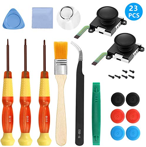 IUU 2 Pack 3D Joycon Joystick Replacement, Analog Thumb Stick Repair Tool Kit for Nintendo Switch Joycon Controller Include Tri-Wing, Screwdriver, Pry Tools + 6 Thumbstick Caps + Brush