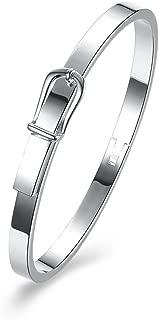 Belt Buckle/Horse Shoe Buckle Bangles& 925 Sterling Silver Plated Bangle Bracelet Jewelry Women Love