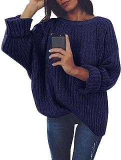 Suéter De Punto De Mujer Suéter para Manga Larga Mode De Marca con Cuello Redondo Suéter Suelto De Color Liso De Gran Tama...