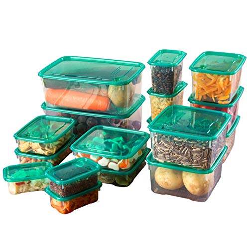 TIANTING 17 unids/Set Cocina microondas Horno refrigerador Sello Caja de Almacenamiento de Alimentos contenedor de plástico Transparente Almacenamiento